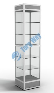 500 X 500 X 2100<br> алюминиевый профиль системы «Еврошоп». <br> ЛДСП 16 мм серого цвета<br> цоколь 200 мм, верхний фриз 150 мм<br> 5 полок из стекла толщиной 5 мм <br> задняя стенка стекло 4 мм <br> торцы стекол обработаны по периметру «Еврошлифовка» <br> уплотнение стекол по периметру