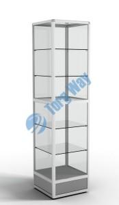 500 X 500 X 2100<br> алюминиевый профиль системы «Еврошоп». <br> ЛДСП 16 мм серого цвета<br> цоколь 200 мм<br> 5 полок из стекла толщиной 5 мм <br> задняя стенка стекло 4 мм <br> торцы стекол обработаны по периметру «Еврошлифовка» <br> уплотнение стекол по периметру