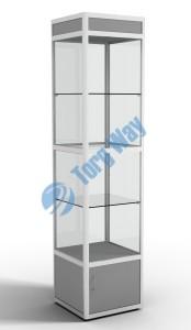500 X 500 X 2100<br> алюминиевый профиль системы «Еврошоп». <br> ЛДСП 16 мм серого цвета<br> накопитель 400 мм, верхний фриз 150 мм<br> дверка в накопителе распашная ЛДСП 16 мм<br> 3 полки из стекла толщиной 5 мм <br> задняя стенка стекло 4 мм <br> торцы стекол обработаны по периметру «Еврошлифовка» <br> уплотнение стекол по периметру