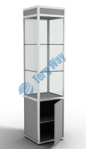500 X 500 X 2100<br> алюминиевый профиль системы «Еврошоп». <br> ЛДСП 16 мм серого цвета<br> накопитель 700 мм, верхний фриз 150 мм<br> дверка в накопителе распашная ЛДСП 16 мм<br> 1 полка в накопителе из ЛДСП 16 мм<br> 3 полки из стекла толщиной 5 мм <br> задняя стенка стекло 4 мм <br> торцы стекол обработаны по периметру «Еврошлифовка» <br> уплотнение стекол по периметру