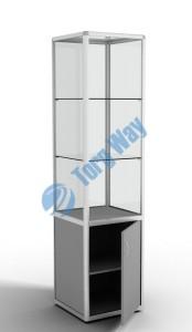 500 X 500 X 2100<br> алюминиевый профиль системы «Еврошоп». <br> ЛДСП 16 мм серого цвета<br> накопитель 700 мм<br> дверка в накопителе распашная ЛДСП 16 мм<br> 1 полка в накопителе из ЛДСП 16 мм<br> 3 полки из стекла толщиной 5 мм <br> задняя стенка стекло 4 мм <br> торцы стекол обработаны по периметру «Еврошлифовка» <br> уплотнение стекол по периметру