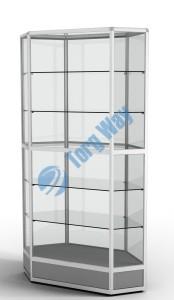 800 X 800 X 2100<br> алюминиевый профиль системы «Еврошоп». <br> ЛДСП 16 мм серого цвета<br> цоколь 200 мм<br> 5 полок из стекла толщиной 5 мм <br> задняя стенка стекло 4 мм <br> торцы стекол обработаны по периметру «Еврошлифовка» <br> уплотнение стекол по периметру