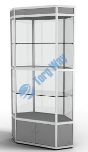 800 X 800 X 2100<br> алюминиевый профиль системы «Еврошоп». <br> ЛДСП 16 мм серого цвета<br> накопитель 400 мм, верхний фриз 150 мм<br> дверки в накопителе распашные ЛДСП 16 мм<br> 3 полки из стекла толщиной 5 мм <br> задняя стенка стекло 4 мм <br> торцы стекол обработаны по периметру «Еврошлифовка» <br> уплотнение стекол по периметру