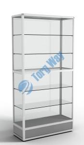 900 X 400 X 2100<br> алюминиевый профиль системы «Еврошоп». <br> ЛДСП 16 мм серого цвета<br> цоколь 200 мм, <br> 5 полок из стекла толщиной 5 мм<br> задняя стенка стекло 4 мм <br> торцы стекол обработаны по периметру «Еврошлифовка» <br> уплотнение стекол по периметру