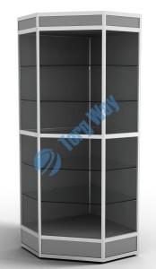 800 X 800 X 2100<br> алюминиевый профиль системы «Еврошоп». <br> ЛДСП 16 мм серого цвета<br> цоколь 200 мм, верхний фриз 150 мм<br> 5 полок из стекла толщиной 5 мм <br> задняя стенка ДВП <br> торцы стекол обработаны по периметру «Еврошлифовка» <br> уплотнение стекол по периметру