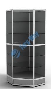 800 X 800 X 2100<br> алюминиевый профиль системы «Еврошоп». <br> ЛДСП 16 мм серого цвета<br> цоколь 200 мм<br> 5 полок из стекла толщиной 5 мм <br> задняя стенка ДВП <br> торцы стекол обработаны по периметру «Еврошлифовка» <br> уплотнение стекол по периметру