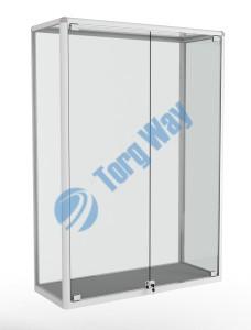 1000 X 400 X 1460<br> алюминиевый профиль системы «Еврошоп». <br> ЛДСП 16 мм серого цвета<br> задняя стенка стекло 4 мм <br> дверки распашные стекло 5мм с замками<br> торцы стекол обработаны по периметру «Еврошлифовка» <br> уплотнение стекол по периметру