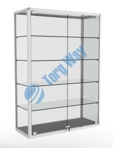 1000 X 400 X 1460<br> алюминиевый профиль системы «Еврошоп». <br> ЛДСП 16 мм серого цвета<br> 4 полки из стекла толщиной 5 мм <br> задняя стенка стекло 4 мм <br> дверки распашные стекло 5мм с замками<br> торцы стекол обработаны по периметру «Еврошлифовка» <br> уплотнение стекол по периметру