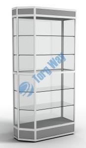 900 X 400 X 2100<br> алюминиевый профиль системы «Еврошоп». <br> ЛДСП 16 мм серого цвета<br> цоколь 200 мм, верхний фриз 150 мм<br> 5 полок из стекла толщиной 5 мм <br> задняя стенка стекло 4 мм <br> торцы стекол обработаны по периметру «Еврошлифовка» <br> уплотнение стекол по периметру