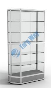 900 X 400 X 2100<br> алюминиевый профиль системы «Еврошоп». <br> ЛДСП 16 мм серого цвета<br> цоколь 200 мм<br> 5 полок из стекла толщиной 5 мм <br> задняя стенка стекло 4 мм <br> торцы стекол обработаны по периметру «Еврошлифовка» <br> уплотнение стекол по периметру