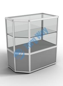 900 X 500 X 900<br> алюминиевый профиль системы «Еврошоп». <br> ЛДСП 16 мм серого цвета <br> накопитель 400 мм<br> верхняя часть закрыта стеклом 4 мм высотой 500 мм<br> 1 полка из стекла толщиной 5 мм