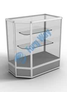 900 X 500 X 900<br> алюминиевый профиль системы «Еврошоп». <br> ЛДСП 16 мм серого цвета <br> цоколь 200 мм<br> верхняя часть закрыта стеклом 4 мм высотой 700 мм<br> 2 полки из стекла толщиной 5 мм