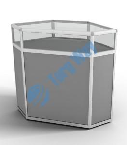 800 X 800 X 900<br> алюминиевый профиль системы «Еврошоп». <br> ЛДСП 16 мм серого цвета <br> накопитель 700 мм<br> 1 полка в накопителе из ЛДСП 16 мм<br> верхняя часть закрыта стеклом 4 мм высотой 200 мм