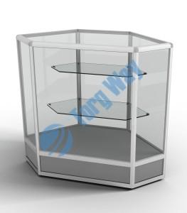 800 X 800 X 900<br> алюминиевый профиль системы «Еврошоп». <br> ЛДСП 16 мм серого цвета <br> цоколь 200 мм<br> верхняя часть закрыта стеклом 4 мм высотой 700 мм<br> 2 полки из стекла толщиной 5 мм