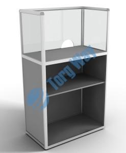 900 X 500 X 1400<br> алюминиевый профиль системы «Еврошоп». <br> ЛДСП 16 мм серого цвета<br> накопитель 900 мм<br> 1 полка в накопителе из ЛДСП 16 мм<br> верхняя часть закрыта стеклом 4 мм высотой 500 мм