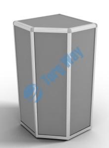 500 X 500 X 900<br> алюминиевый профиль системы «Еврошоп». <br> ЛДСП 16 мм серого цвета<br> 1 полка в накопителе из ЛДСП 16 мм
