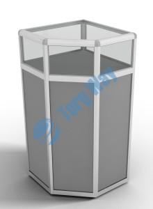 500 X 500 X 900<br> алюминиевый профиль системы «Еврошоп». <br> ЛДСП 16 мм серого цвета<br> накопитель 700 мм<br> верхняя часть закрыта стеклом 4 мм высотой 200 мм<br> 1 полка в накопителе из ЛДСП 16 мм
