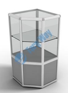 500 X 500 X 900<br> алюминиевый профиль системы «Еврошоп». <br> ЛДСП 16 мм серого цвета<br> накопитель 400 мм<br> верхняя часть закрыта стеклом 4 мм высотой 500 мм<br> 1 полка из стекла толщиной 5 мм
