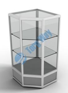 500 X 500 X 900<br> алюминиевый профиль системы «Еврошоп». <br> ЛДСП 16 мм серого цвета<br> цоколь 200 мм<br> верхняя часть закрыта стеклом 4 мм высотой 700 мм<br> 2 полки из стекла толщиной 5 мм