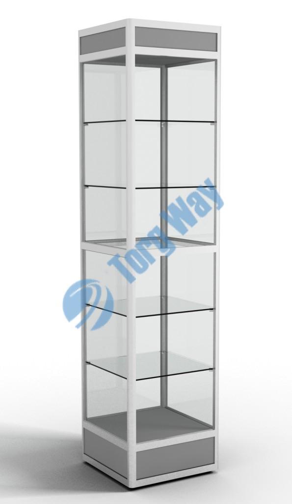 500 X 500 X 2100 алюминиевый профиль системы «Еврошоп». ЛДСП 16 мм серого цвета цоколь 200 мм, верхний фриз 150 мм 5 полок из стекла толщиной 5 мм задняя стенка стекло 4 мм торцы стекол обработаны по периметру «Еврошлифовка» уплотнение стекол по периметру