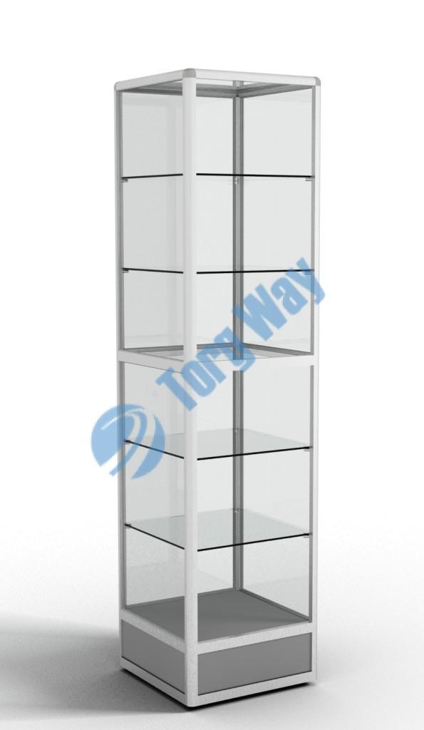 500 X 500 X 2100 алюминиевый профиль системы «Еврошоп». ЛДСП 16 мм серого цвета цоколь 200 мм 5 полок из стекла толщиной 5 мм задняя стенка стекло 4 мм торцы стекол обработаны по периметру «Еврошлифовка» уплотнение стекол по периметру