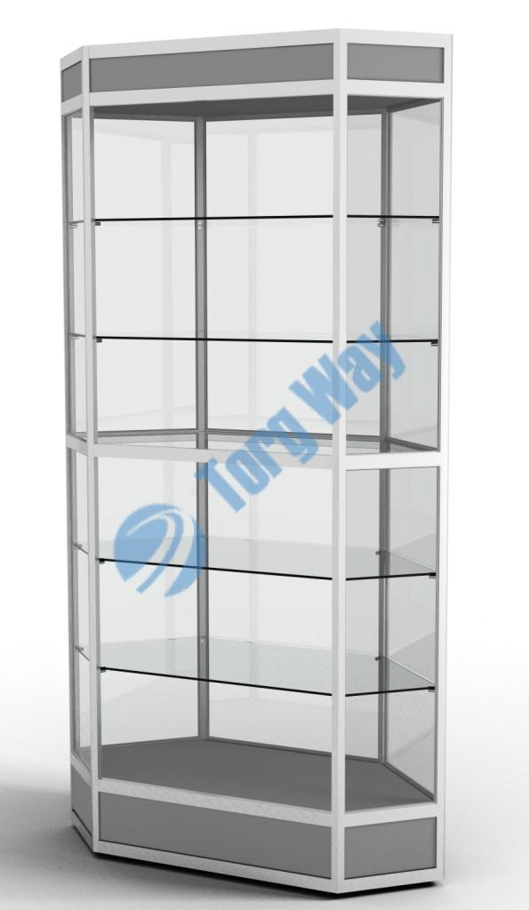 800 X 800 X 2100 алюминиевый профиль системы «Еврошоп». ЛДСП 16 мм серого цвета цоколь 200 мм, верхний фриз 150 мм 5 полок из стекла толщиной 5 мм задняя стенка стекло 4 мм торцы стекол обработаны по периметру «Еврошлифовка» уплотнение стекол по периметру