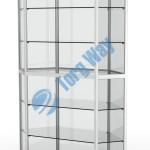 800 X 800 X 2100 алюминиевый профиль системы «Еврошоп». ЛДСП 16 мм серого цвета цоколь 200 мм 5 полок из стекла толщиной 5 мм задняя стенка стекло 4 мм торцы стекол обработаны по периметру «Еврошлифовка» уплотнение стекол по периметру