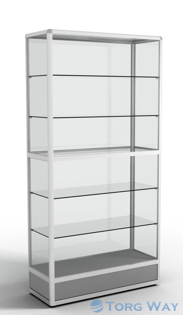 900 X 400 X 2100 алюминиевый профиль системы «Еврошоп». ЛДСП 16 мм серого цвета цоколь 200 мм, 5 полок из стекла толщиной 5 мм задняя стенка стекло 4 мм торцы стекол обработаны по периметру «Еврошлифовка» уплотнение стекол по периметру