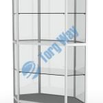 800 X 800 X 2100 алюминиевый профиль системы «Еврошоп». ЛДСП 16 мм серого цвета накопитель 400 мм дверки в накопителе распашные ЛДСП 16 мм 3 полки из стекла толщиной 5 мм задняя стенка стекло 4 мм торцы стекол обработаны по периметру «Еврошлифовка» уплотнение стекол по периметру