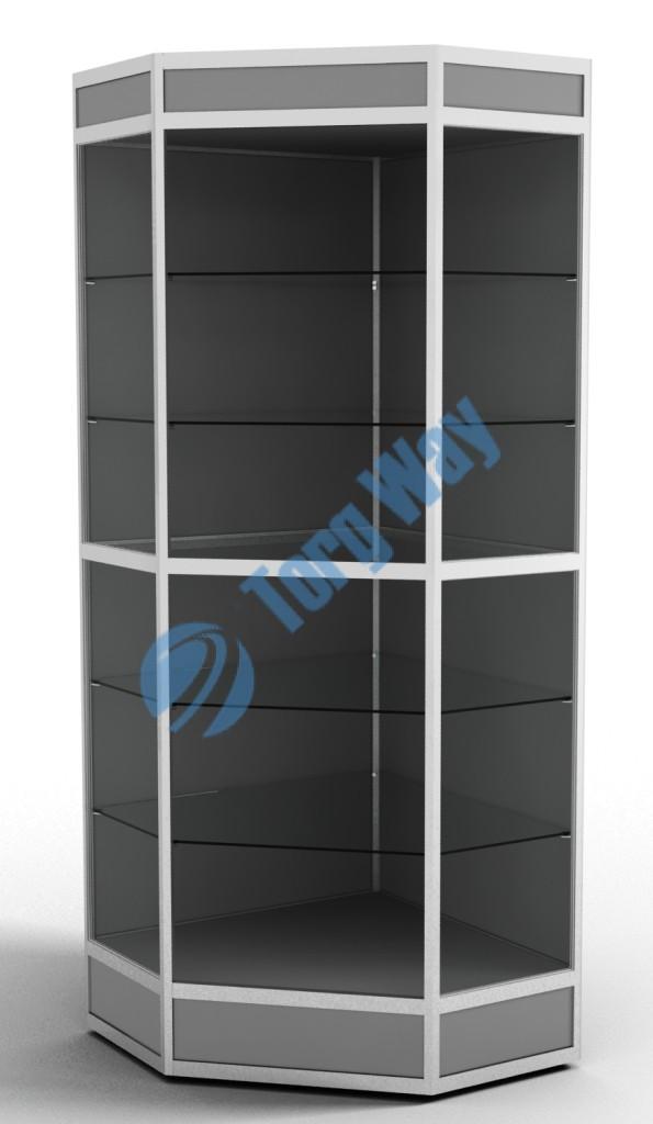 800 X 800 X 2100 алюминиевый профиль системы «Еврошоп». ЛДСП 16 мм серого цвета цоколь 200 мм, верхний фриз 150 мм 5 полок из стекла толщиной 5 мм задняя стенка ДВП торцы стекол обработаны по периметру «Еврошлифовка» уплотнение стекол по периметру