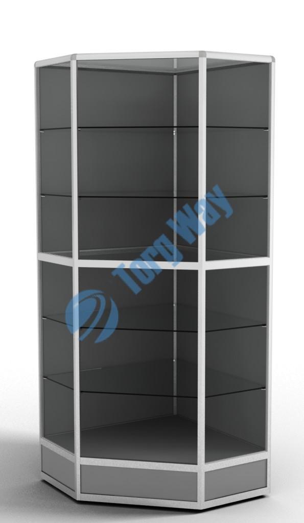 800 X 800 X 2100 алюминиевый профиль системы «Еврошоп». ЛДСП 16 мм серого цвета цоколь 200 мм 5 полок из стекла толщиной 5 мм задняя стенка ДВП торцы стекол обработаны по периметру «Еврошлифовка» уплотнение стекол по периметру