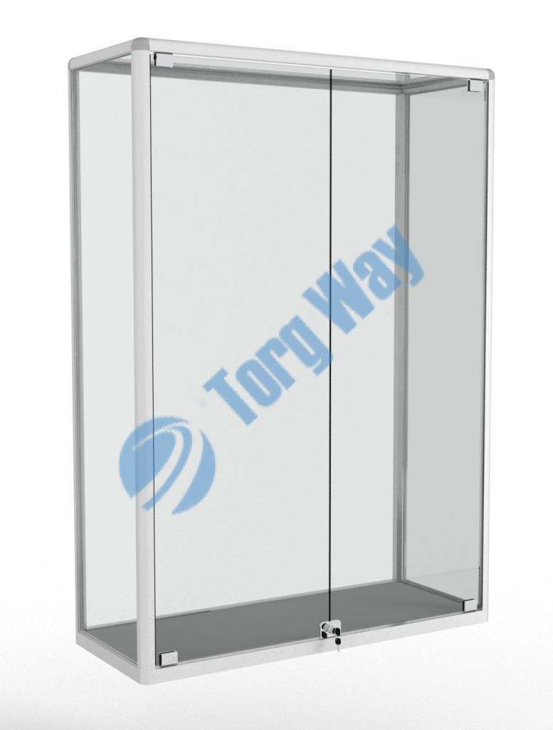1000 X 400 X 1460 алюминиевый профиль системы «Еврошоп». ЛДСП 16 мм серого цвета задняя стенка стекло 4 мм дверки распашные стекло 5мм с замками торцы стекол обработаны по периметру «Еврошлифовка» уплотнение стекол по периметру