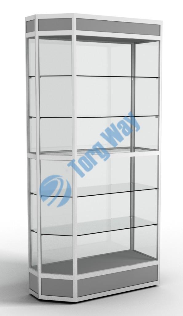 900 X 400 X 2100 алюминиевый профиль системы «Еврошоп». ЛДСП 16 мм серого цвета цоколь 200 мм, верхний фриз 150 мм 5 полок из стекла толщиной 5 мм задняя стенка стекло 4 мм торцы стекол обработаны по периметру «Еврошлифовка» уплотнение стекол по периметру
