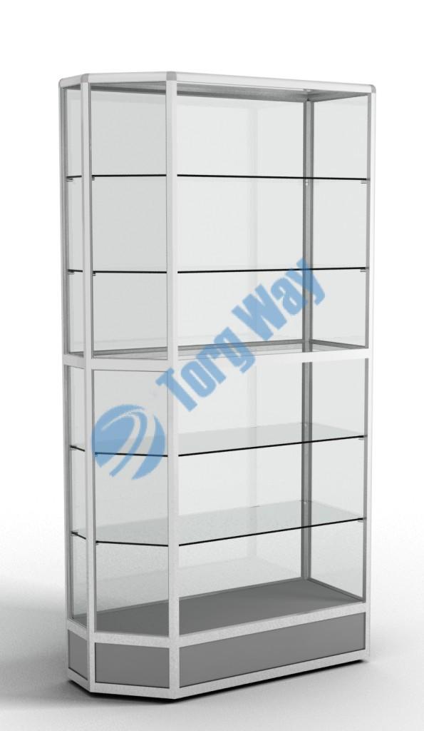 900 X 400 X 2100 алюминиевый профиль системы «Еврошоп». ЛДСП 16 мм серого цвета цоколь 200 мм 5 полок из стекла толщиной 5 мм задняя стенка стекло 4 мм торцы стекол обработаны по периметру «Еврошлифовка» уплотнение стекол по периметру