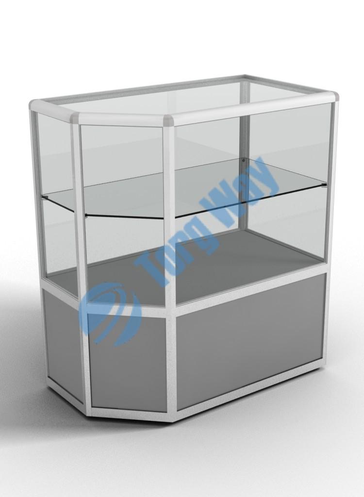900 X 500 X 900 алюминиевый профиль системы «Еврошоп». ЛДСП 16 мм серого цвета накопитель 400 мм верхняя часть закрыта стеклом 4 мм высотой 500 мм 1 полка из стекла толщиной 5 мм