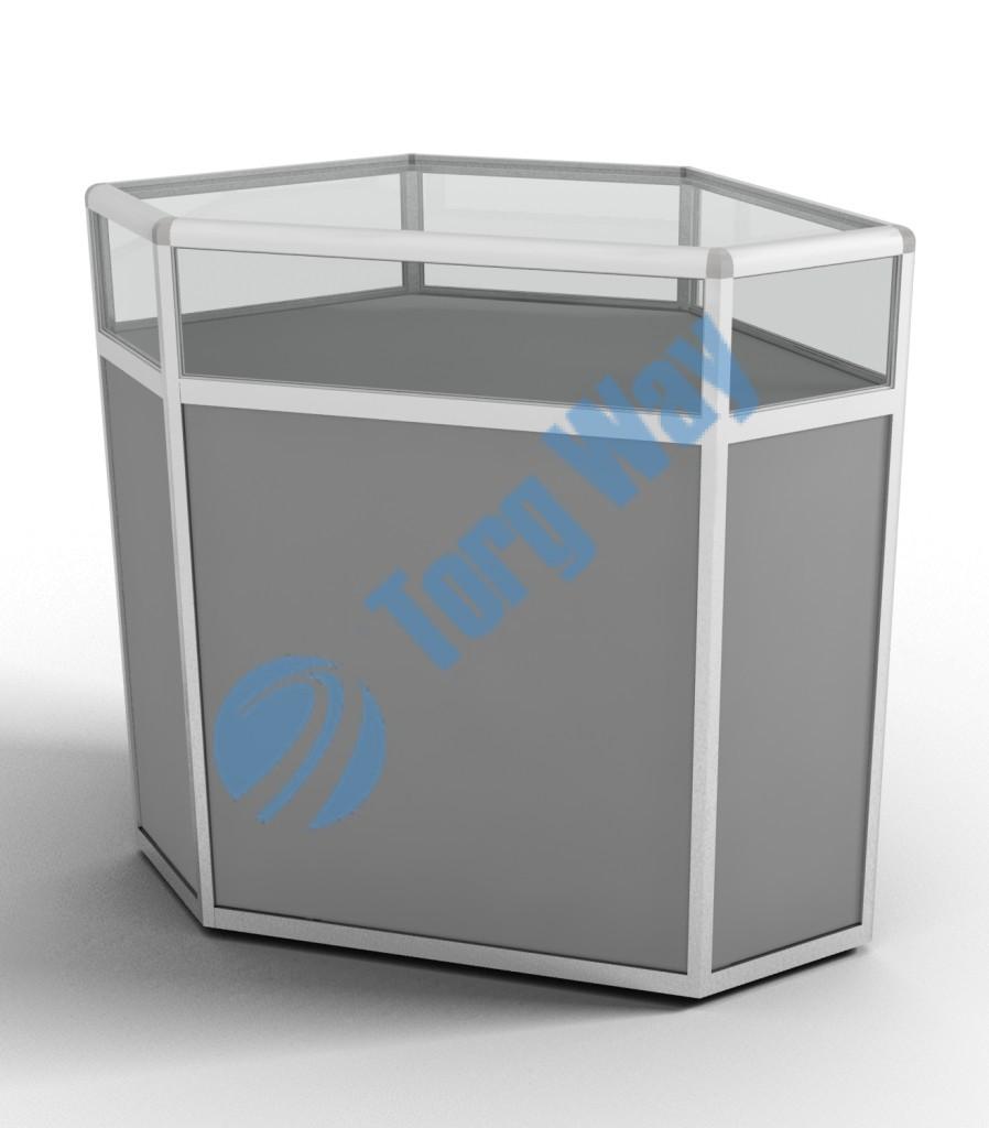 800 X 800 X 900 алюминиевый профиль системы «Еврошоп». ЛДСП 16 мм серого цвета накопитель 700 мм 1 полка в накопителе из ЛДСП 16 мм верхняя часть закрыта стеклом 4 мм высотой 200 мм
