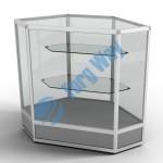 800 X 800 X 900 алюминиевый профиль системы «Еврошоп». ЛДСП 16 мм серого цвета цоколь 200 мм верхняя часть закрыта стеклом 4 мм высотой 700 мм 2 полки из стекла толщиной 5 мм