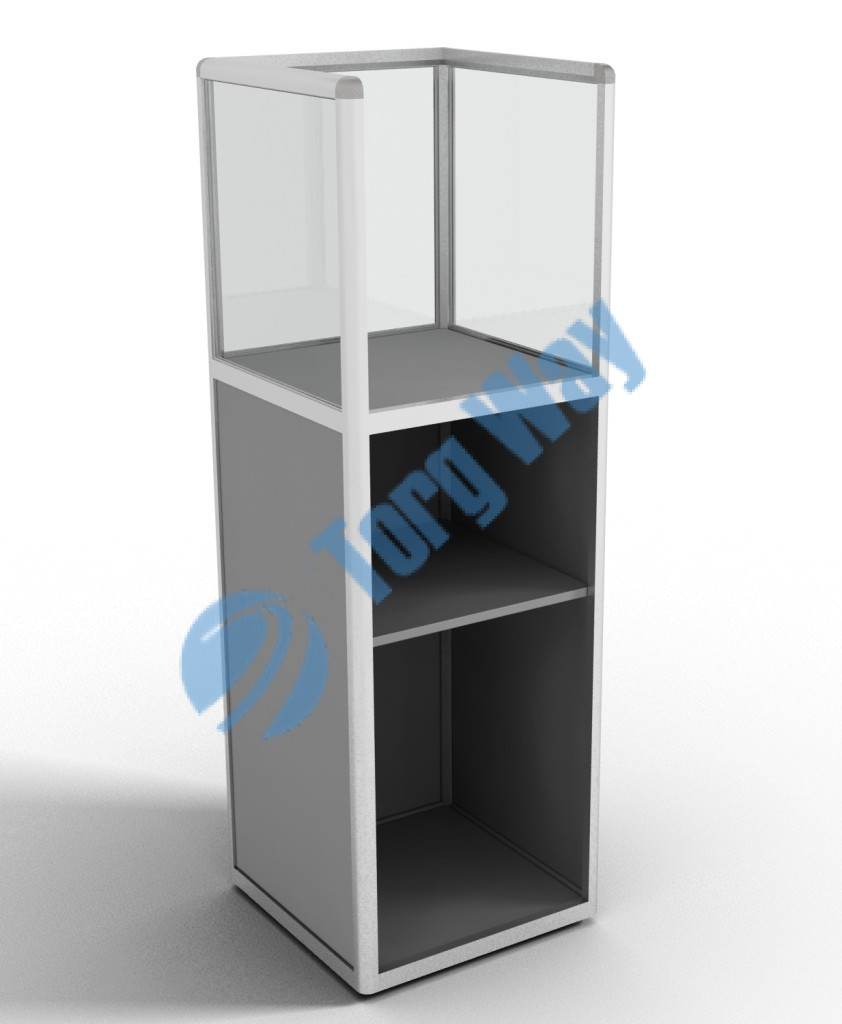 500 X 500 X 1400 алюминиевый профиль системы «Еврошоп». ЛДСП 16 мм серого цвета накопитель 900 мм 1 полка в накопителе из ЛДСП 16 мм верхняя часть закрыта стеклом 4 мм высотой 500 мм