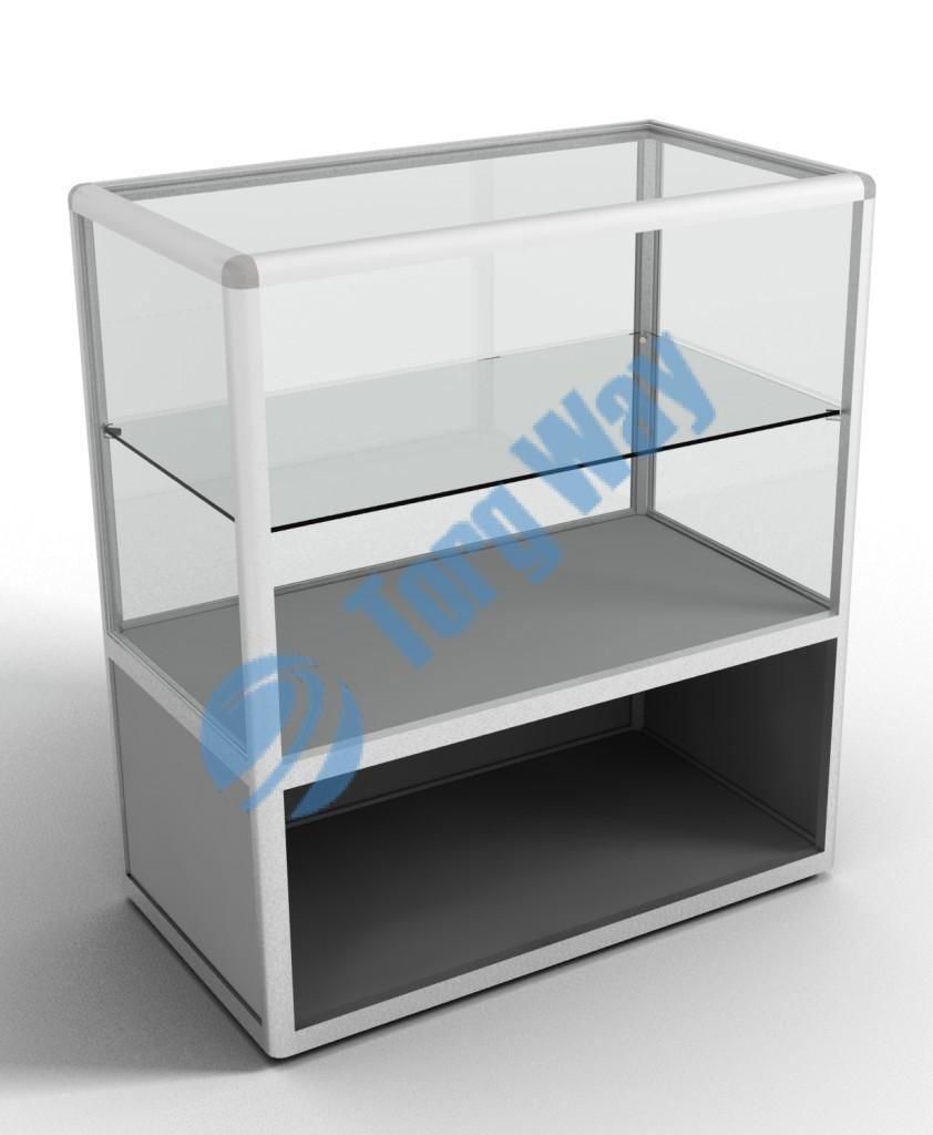 900 X 500 X 900 алюминиевый профиль системы «Еврошоп». ЛДСП 16 мм серого цвета цоколь 200 мм верхняя часть закрыта стеклом 4 мм высотой 700 мм 1 полка 200 мм из стекла толщиной 5 мм 1 полка 300 мм из стекла толщиной 5 мм
