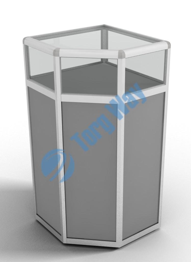 500 X 500 X 900 алюминиевый профиль системы «Еврошоп». ЛДСП 16 мм серого цвета накопитель 700 мм верхняя часть закрыта стеклом 4 мм высотой 200 мм 1 полка в накопителе из ЛДСП 16 мм