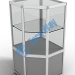500 X 500 X 900 алюминиевый профиль системы «Еврошоп». ЛДСП 16 мм серого цвета накопитель 400 мм верхняя часть закрыта стеклом 4 мм высотой 500 мм 1 полка из стекла толщиной 5 мм