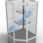 500 X 500 X 900 алюминиевый профиль системы «Еврошоп». ЛДСП 16 мм серого цвета цоколь 200 мм верхняя часть закрыта стеклом 4 мм высотой 700 мм 2 полки из стекла толщиной 5 мм
