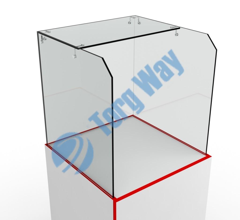 500 X 500 X 500 (устанавливается на глухой прилавок) стекло 5 мм высотой 500 мм торцы стекол обработаны по периметру «Еврошлифовка»